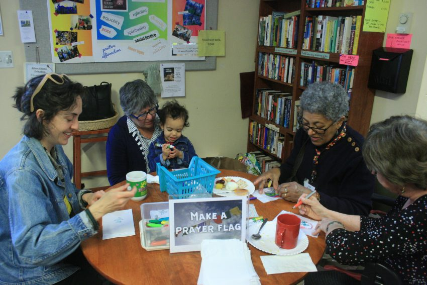 RE Sponsored Breakfast, Making Prayer Flags, May 2019